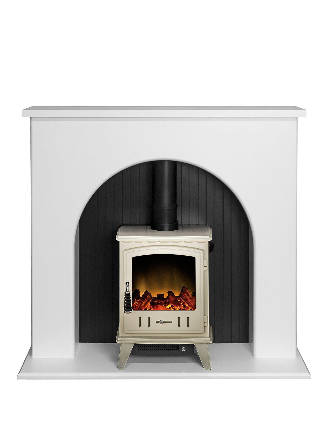 Compare prices for Adam Fire Surrounds Kirkham Stove Suite In Pure White