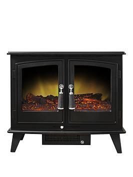 Adam Fires & Fireplaces   Woodhouse Double Door Electric Stove In Black