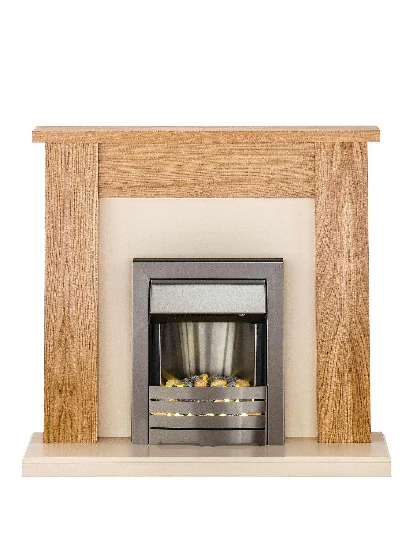 Compare prices for Adam Fire Surrounds New England Fireplace Suite In Oak And Cream With Helios Electric Fire In Brushed Steel