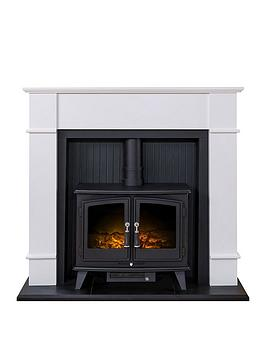 Adam Fires & Fireplaces   Oxford Stove Suite In Pure White With Woodhouse Electric Stove