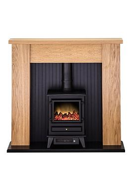 Adam Fire Surrounds New England Stove Suite In Oak With Hudson Electric Stove In Black