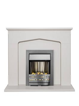 Adam Fire Surrounds Cotswold Fireplace Suite In Stone Effect With Helios Electric Fire In Brushed Steel