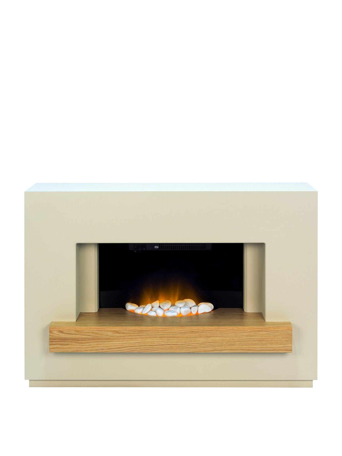 Compare prices for Adam Fire Surrounds Sambro Fireplace Suite In Stone Effect With Oak Shelf