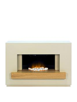Adam Fires & Fireplaces   Sambro Fireplace Suite In Stone Effect With Oak Shelf