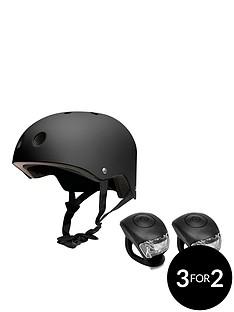 feral-helmet-58-62cm-black-with-urban-proof-silicone-bike-light-set