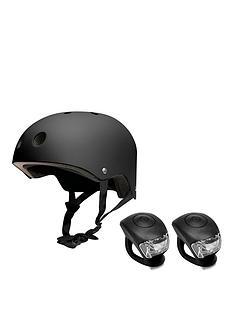 feral-helmet-54-58cm-black-with-urban-proof-silicone-bike-light-set