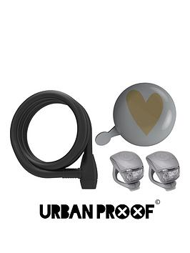 Urban Proof Ding Dong Heart Bell Sprial Lock And Silicon Light Set