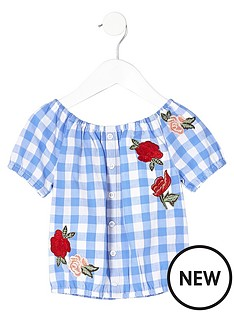 river-island-mini-girls-blue-gingham-rose-print-bardot-top
