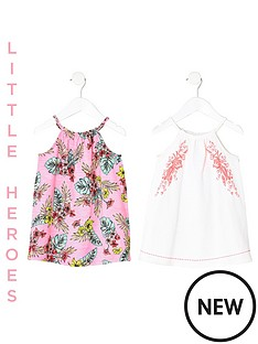 river-island-mini-mini-girls-two-pack-leaf-print-trapeze-dress