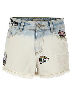 river-island-girls-blue-dip-dye-badged-denim-shorts