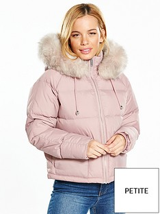 v-by-very-petite-faux-fur-trim-padded-coat-dusty-pink