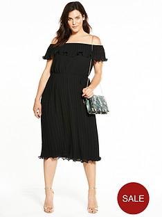 v-by-very-curve-bardot-pleat-midi-dress
