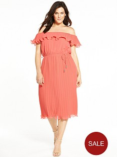 v-by-very-curve-bardot-pleat-midi-dress-coral