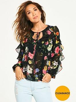 myleene-klass-frill-sleeve-tie-front-blouse