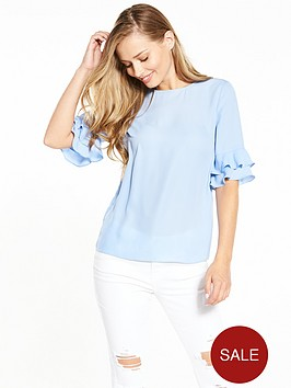 v-by-very-fluted-sleeve-shell-top