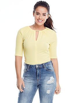 V By Very Petite Rib Keyhole Bodysuit  Yellow