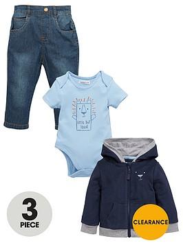 ladybird-baby-boys-3pc-hooded-top-bodysuit-amp-jea