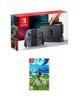 Nintendo Switch Console (Grey) With Legend Of Zelda Breath Of The Wild
