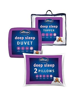 Silentnight Deep Sleep 13.5 Tog Duvet, Pillow Pair And Mattress Topper Bundle