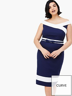 paper-dolls-curve-curve-panel-detail-off-shoulder-dress-with-navy-belt