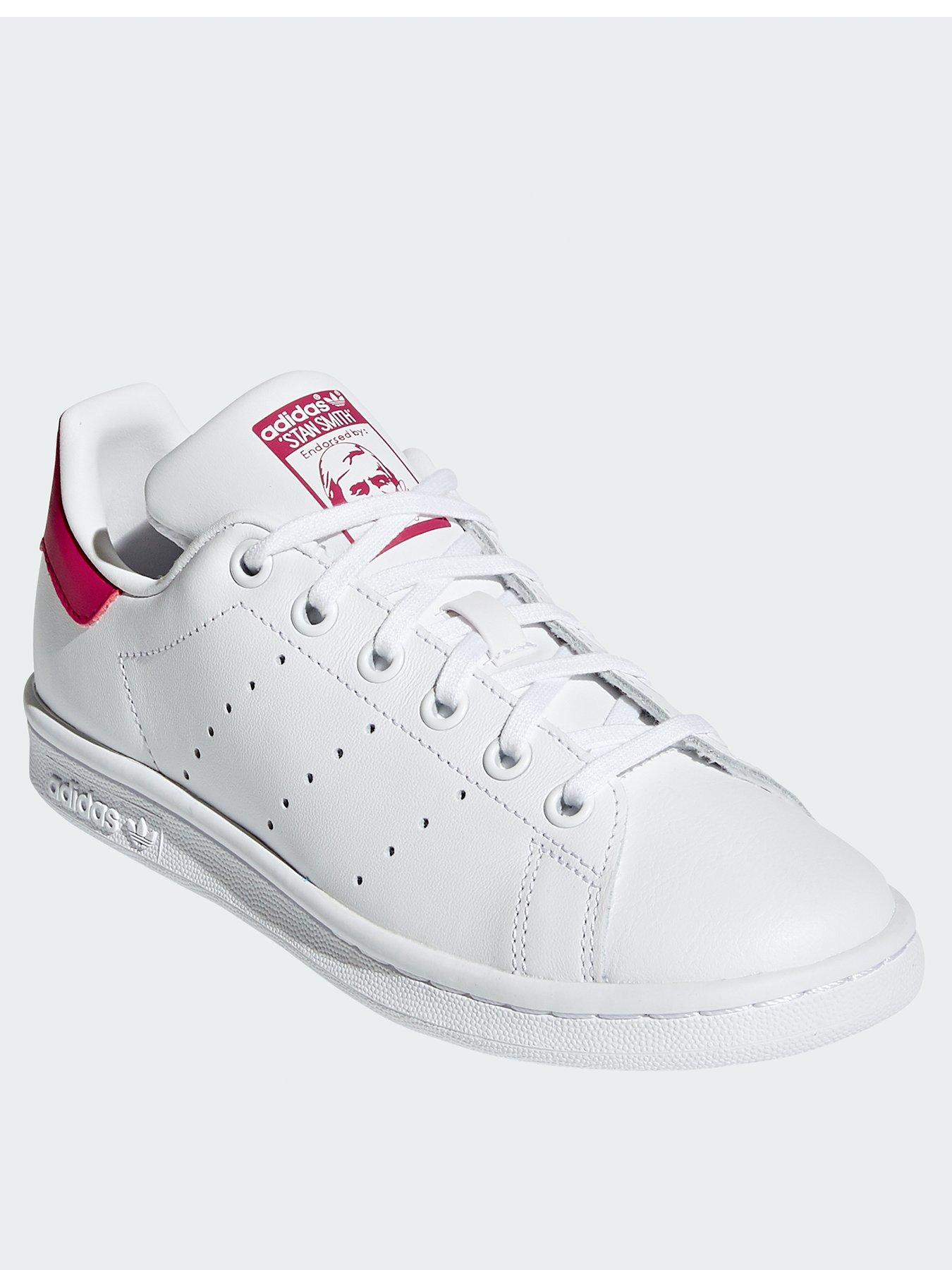 Junior Girls adidas Originals Stan Smith Trainers In White Padded Collar And