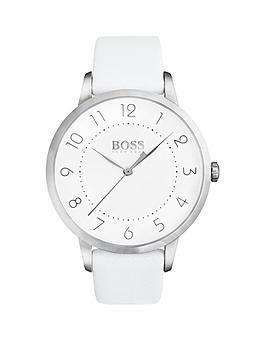 Hugo Boss Black Hugo Boss Black Eclipse White Dial White Leather Strap Ladeis Watch