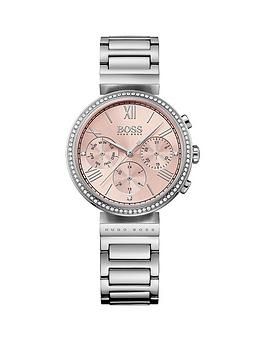 Hugo Boss Black Hugo Boss Black Classic Pink Chronograph Dial Stainless Steel Bracelet Ladies Watch