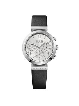 Hugo Boss Black Hugo Boss Black Classic Sport Multi Dial Black Leather Strap Ladies Watch