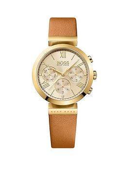 Hugo Boss Black Hugo Boss Black Classic Sport Multi Dial Tan Leather Strap Ladies Watch
