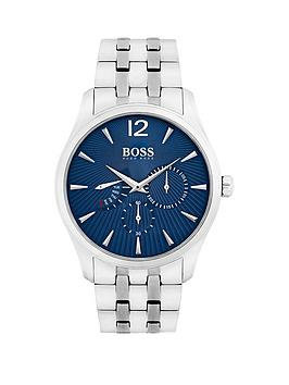 Hugo Boss Black Hugo Boss Black Commander Blue Chronograph Dial Stainless Steel Bracelet Mens Watch