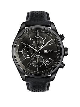 Hugo Boss Black Hugo Boss Black Grand Prix Black Chronograph Dial Black Leather Strap Mens Watch