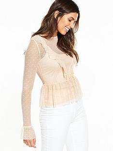 v-by-very-lace-ruffle-mesh-top-blush