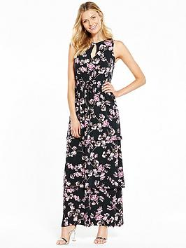 V By Very Tiered Frill Printed Maxi Dress
