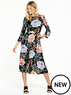 v-by-very-tie-sleeve-floral-bloom-midi-dress