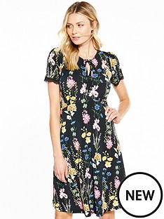v-by-very-tie-front-lace-sleeve-skater-dress