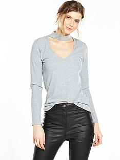 v-by-very-choker-rib-long-sleeve-top