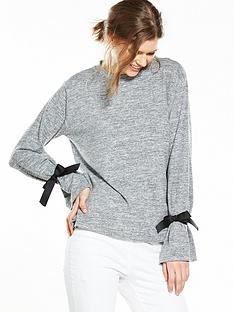 v-by-very-tie-sleeve-cuff-jersey-knit-top-greynbsp