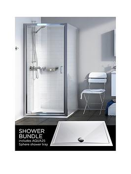 Aqualux Source Pivot Door Side Panel Aq25 Sphere Shower Tray 800 X 800Mm