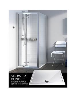 Aqualux Source BiFold Door Side Panel Aq25 Sphere Shower Tray 900 X 900Mm