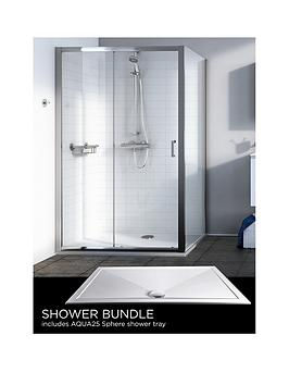 Aqualux Source Sliding Door Side Panel Aq25 Sphere Shower Tray 1200 X 800Mm