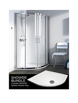 Aqualux Source Quadrant And Aq25 Shower Tray Pack 900 X 900Mm