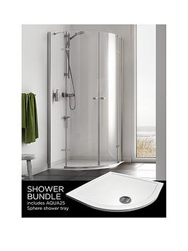 Aqualux Origin Quadrant And Aq25 Shower Tray Pack 900 X 900Mm