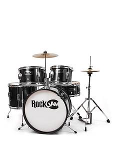 rockjam-rj105-5-piece-junior-drum-set-black