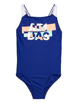 Adidas Older Girls Lineage Logo Swimsuit