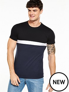 v-by-very-short-sleeve-colour-block-tee