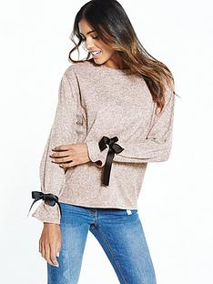 v-by-very-tie-sleeve-cuff-jersey-knit-top