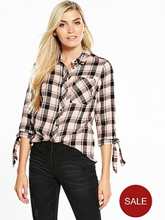 v-by-very-tie-sleeve-check-shirt