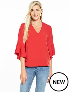 v-by-very-flute-sleeve-v-neck-blouse-red