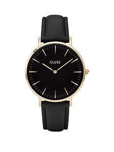 cluse-la-boheme-black-dial-gold-tone-case-black-strap-watch
