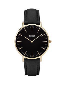 Cluse La Boheme Black Dial Gold Tone Case Black Strap Watch